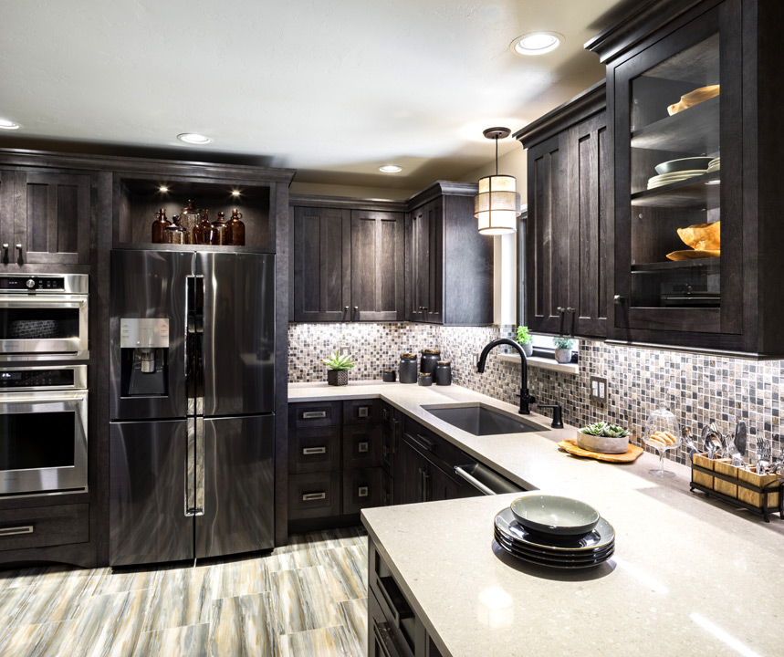 Custom dark maple cabinetry for this kitchen remodel